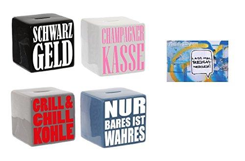 """Preisvergleich Produktbild Spardose Keramik """"Würfel mit Spruch"""" & Postkarte """"Lass mal reich werden"""" - Set ~ (Grill & Chill Kohle)"""