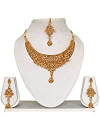 Vipin Store Golden Color Stone With Pearl Beads Gold Plated Jewelery Set - B078Y1LNQ1