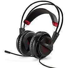 HP OMEN by SteelSeries - Auriculares para gaming con micrófono (PC/juegos, diadema, Balanced, Alámbrico), color negro y rojo