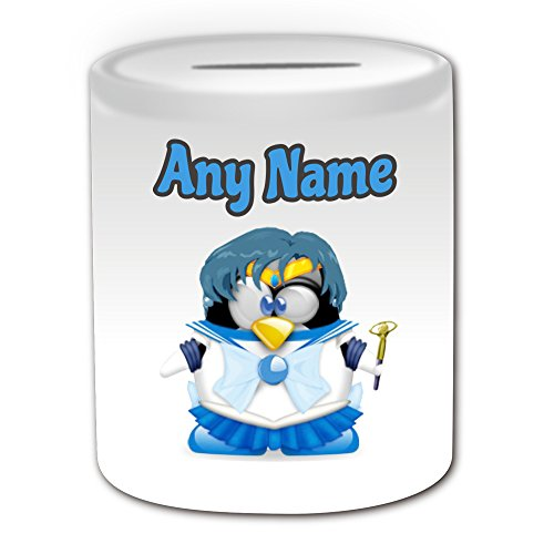 Disney Charakter Kostüme Cartoon (Personalisiertes Geschenk – Sailor Mercury Spardose (Pinguin Cartoon Charakter Kostüm Design Thema, weiß) – alle Nachricht/Name auf Ihre einzigartige – Silly Funny Neuheit kawaii Humor Anime Animation Film Movie Game Roman Art Clipart Episode TV Fernseher)