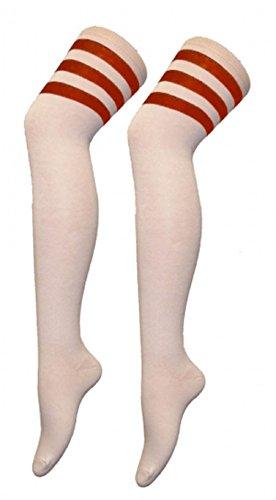 Momo&Ayat Fashions Unisex Herren Damen Mädchen Jungs über Knie Schiedsrichter Socken Sport oder Fancy Dress Rugby Fußball (Onesize (Schuhgröße 32-34), Weiß mit roten Streifen)