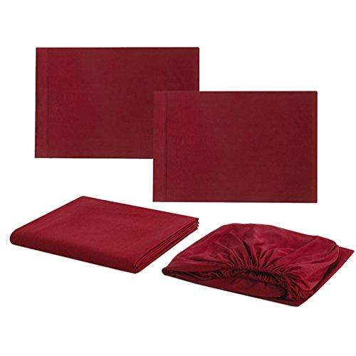 Ketamy 4 pezzi lenzuola,1*copriletto,1*trapunta,2*federe,tinta unita microfibra spazzolata set biancheria letto vino rosso full