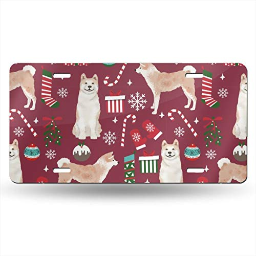 License Plate Covers & Frames YEX Christmas Deer Pattern License Plate with 4 Holes Novelty Car Licence Plate Covers Tag Sign 12 x 6 License Plate Covers & Frames