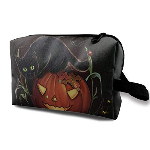 with Wristlet Cosmetic Bags Carved Pumpkin and Evil Black Cat Halloween Travel Portable Makeup Bag Zipper Wallet Hangbag