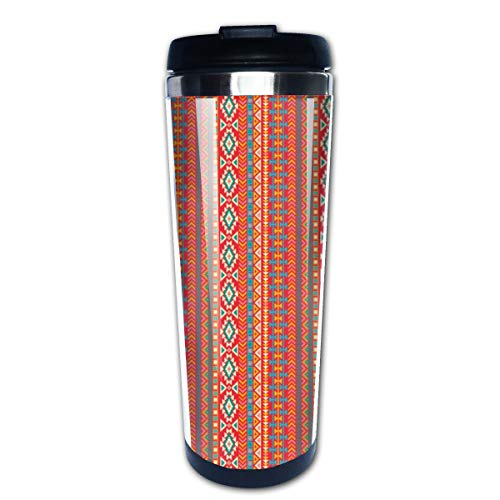 Aztec Tribal Native American Mexican Multi Insulated Stainless Steel Travel Mug 14 oz Classic Lowball Tumbler with Flip Lid Nissan Thermos Travel Mug