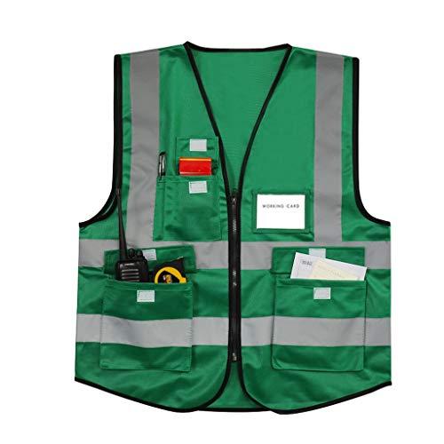 Vêtements réfléchissants de sécurité gilet réfléchissant vêtement de sécurité vêtement réfléchissant L/XL/XXL (Color : Green-L)