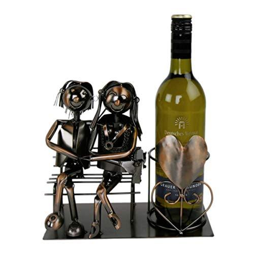Michel Toys Metall Weinflaschenhalter - Motiv Liebespaar - Deko Flaschen Halter Wein Ständer (kupferfarbend)
