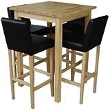 4 barhocker mit bartisch set essgruppe for Barhocker dunkelbraun