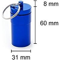 Pillendose blau 68 x 31 mm Pillenbox Tablettendose Schlüsselanhänger Alu Mini Box Dose Pillen Kapsel Aufbewahrungsbox preisvergleich bei billige-tabletten.eu