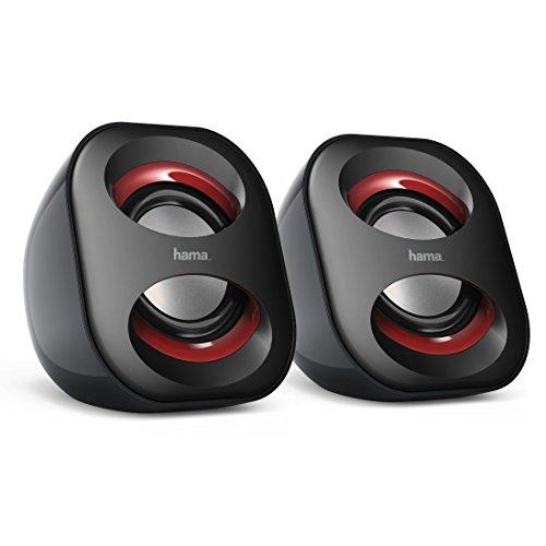 Hama PC Lautsprecher Sonic Mobil 183 (USB 3.0, 3,5 mm Klinke, 3 W, aktive Boxen für Computer, Laptop, Notebook, Smartphone, Tablet) schwarz/rot