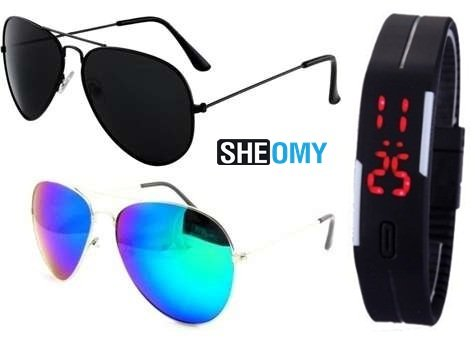 SUNGLASSES BEST GIFT SETS COMBO OF SILVER BLUE MERCURY AVIATOR SUN GLASSES AND FULL BLACK AVIATOR GOGGLES (GOGALS) WITH TPU BAND RED LED DIGITAL BLACK DIAL UNISEX WATCH  available at amazon for Rs.329