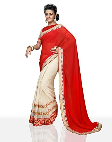 Chirag Sarees Synthetic Saree (4401_Red)