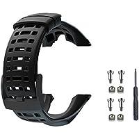 Cinturino dell'orologio, Sostituzione di gomma flessibile Vindar 2018 nuova, Cinturino da polso per Suunto Ambit 1/2/2S/ 2R/3 Sport/3 Run/3 PEAK (Nero, include 1*Cacciavite + 4*Viti)