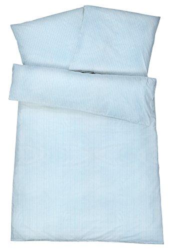 Mako-Perkal Bettwäsche 135 x 200 cm - Hochwertige gestreifte Bettbezüge aus 100% feinster Baumwolle - Klassisch & Elegante bügelfreie Bettwaren-Garnitur - Made in Germany - Streifen 7 - Blau -