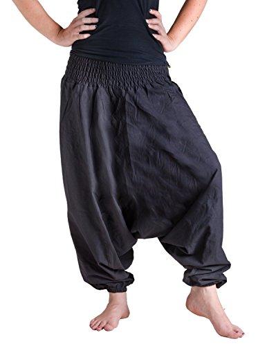 Vishes – Alternative Bekleidung – Baumwoll Haremshose mit farbigem Bund schwarz-schwarz Einheitsgröße 34-44 (Schwarz Leinen Herren Hosen)
