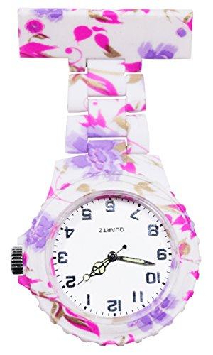 Ellemka JCM-2102 - Schwesternuhr Clip zum Anstecken FOB Kittel Krankenschwester Pflege-r Quarz Puls-Uhr Taschen Hänge-Band Ansteck-Nadel Neon Fashion Trend Design Art Pattern Pink Violet Flowers -
