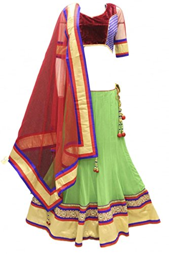 DCC2471 Lime Verde e Rosso Tradizionale Chaniya Choli Indian Bollywood Lengha Choli lime green