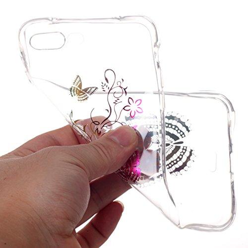 Für iPhone 7,Sunrive Schutzhülle Etui Hülle TPU Silikon Rückschale Silicon Cover Tasche Case Bumper Abdeckung Handyhülle(rosa)+Gratis Universal Eingabestift Schmetterling