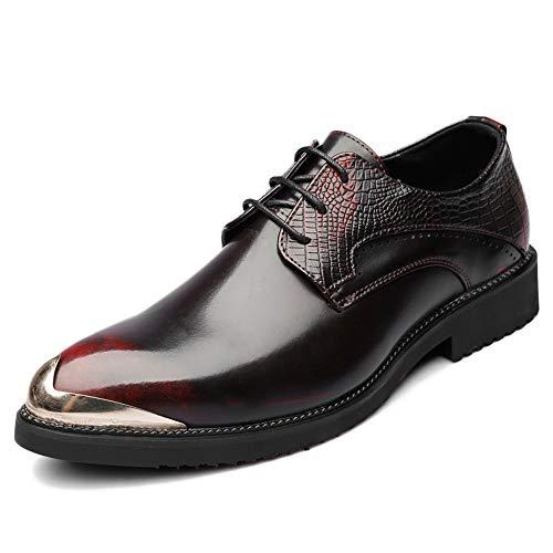 GBRALX Scarpe Casual da Uomo Autunno Tendenza Aumentato Scarpe in Pelle Traspirante a Punta Versione Maschile Coreana delle Scarpe da Parrucchiere Britannico,Red-38