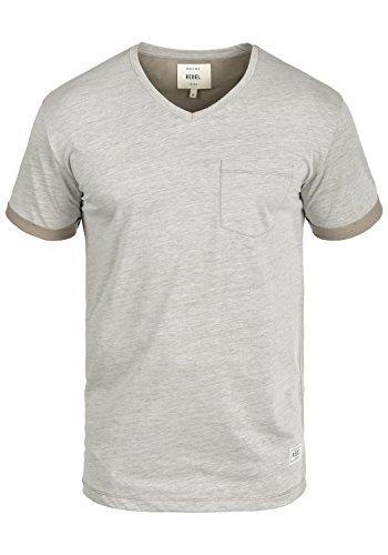 Redefined Rebel Moses Herren T-Shirt Kurzarm Shirt V-Ausschnitt Brusttasche Aus Hochwertiger Baumwollmischung Meliert Faded Brown