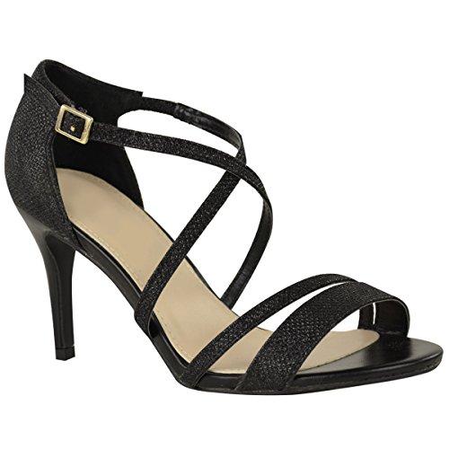 27715734bc13f1 Fashion Thirsty Damen Sandalette mit Mittelhohem Absatz   überkreuzten  Riemen - Schwarzer Schimmer - EUR 38