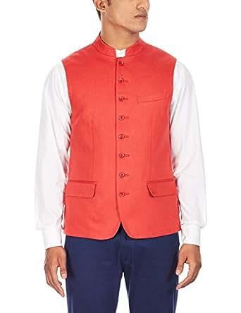 Lombard Men's Linen Waistcoat (8907130815493_1lJ0071144_X-Large_Red)
