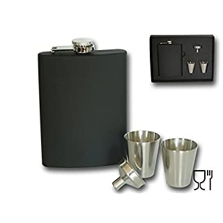 Set of 4–(235ml) + 2Cups (30ml) + Funnel Stainless Steel 6oz Hip Flask Gift Set Perfect Birthday Bachelor Parties New Year black Silicone