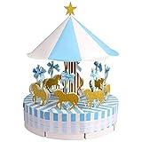 Cikuso Carrusel de Boda Cajas de Favor Cajas de Dulces Caja de Regalos para Boda, Fiesta, Fiesta de Bienvenida Al Bebé, Decoración de Cumplea?os, Azul 1 Juego