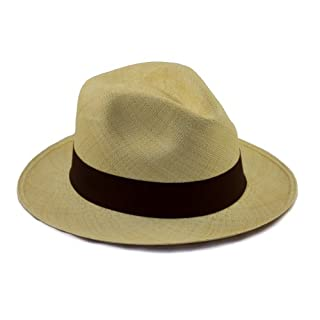 Tumi Genuine Panama Hat. Rollable / Foldable hand woven from natural straw. Fair Trade. Range of Colours. Amazingly breathable and light sun hat, by Tumi the UK's leading Panama Hat producer. (58cm, Brown)