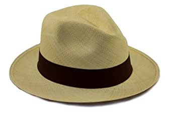 Tumia - Traditional Genuine Panama hat - Rollable/foldable., Brown, 55