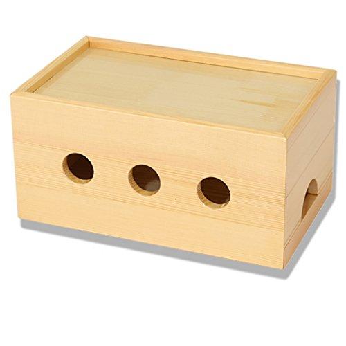 Iashion Caja De Almacenamiento De Cable, Caja De Enchufe De Madera Maciza, Concentrador USB Y Mor, Caja De Enchufe