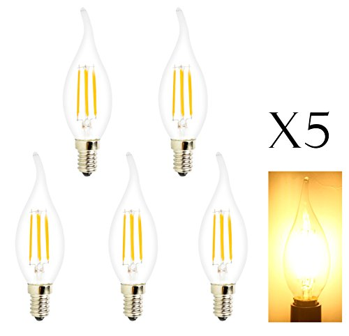 5 Pack 4W LED Glühfaden Kerze-Glühlampe, 3000K Warmweiß 400LM, E14 Kerzenleuchter Sockel Lampe C35 Flammenform gebogener Spitze, 40W Glühlampenlicht Ersatz