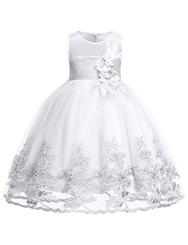 Hibelle Festliche Kleider Mädchen Kinder ärmellos Besonderem Anlass Vintage Kleider Prinzessin mit Reißverschluss Am Rücken Kommunionskleid Größe (100) 2-3 Jahre Weiße Kleid