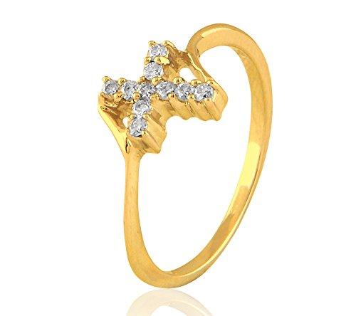 silvernshine Jewels 0,11cts Rundschliff SIM Diamant Akzent Verlobungsring in 14kt GELBGOLD PL (Verlobungsring Akzent)