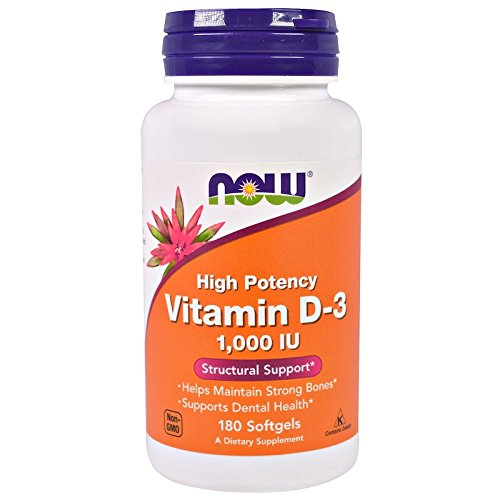 Now Foods Vitamin D-3 1000 IU High Potency Structural Support 180 softgels -