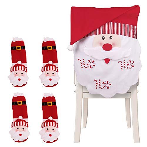 Valery Madelyn 5 Pcs Fundas para Sillas de Comedor de Navidad, Roja y Blanca de Santa Decoración de Cena de...