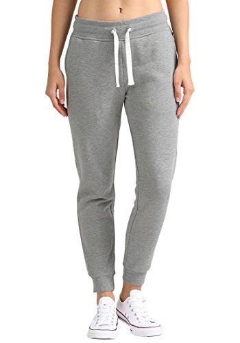 DESIRES Derby Damen Sweathose Sweatpants Relaxhose Mit Fleece-Innenseite Und Kordel Regular Fit, Größe:L, Farbe:Light Grey Melange (8242)
