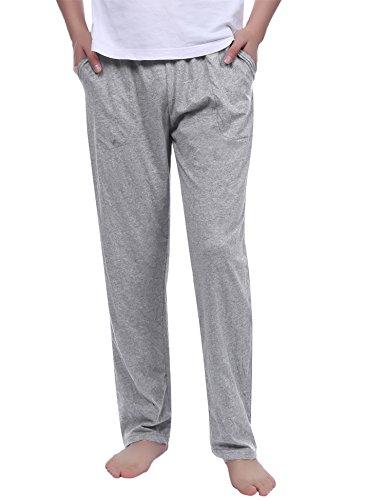 Aibrou Herren Einfarbige Schlafanzughose, 100% Baumwolle Nachtwäsche Pyjamahose Grau S