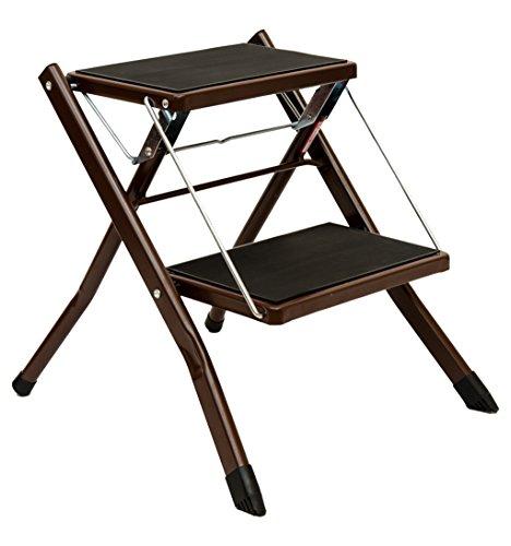 CAIJUN Escalier Pliant Accueil Étape 2 Échelle Chaises faciles Le Fer, 2 Couleurs, 42 * 48 * 41.5cm Chair Ladder (Couleur : Marron)