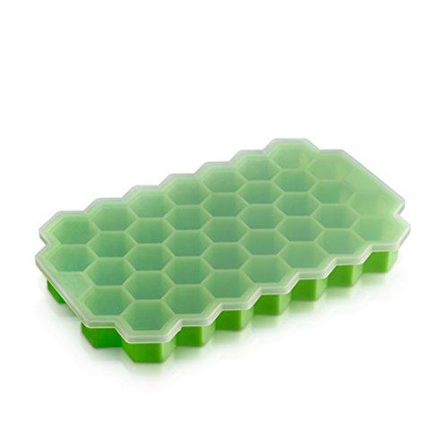 OUNONA Silikon Eiswürfelbereiter mit Deckel Eiswürfelform 37 kleine Eiswürfel eingefroren, so dass Werkzeug für Küche(Grün)