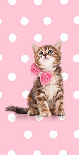 Aminata Kids – Strandtuch Kinder Mädchen groß 75x150 cm Katze Kätzchen Tiere Rosa *inkl. Gratis E-Book* Handtuch Duschtuch Badetuch mit Motiv für Strand Schwimmbad Punkte Strandhandtuch Reisehandtuch