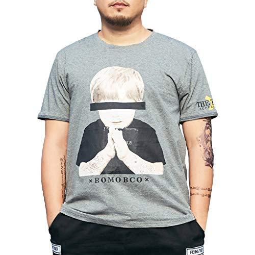 Fenverk Oversize Herren Slim-Fit Crew Neck Basic T-Shirt Rundhals Cuba Kurzarm Custom Vegan Keno Slim(Grau,XXL)