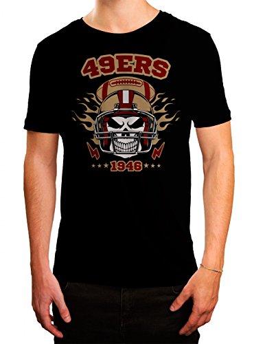 49ers Skull Premium T-Shirt   American Football   Totenkopf   Football-Helm   Herren   Shirt Schwarz (Deep Black L190)