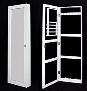armoire bijoux murale coffret bijoux vitrine blanche avec miroir montage murale ou sur porte. Black Bedroom Furniture Sets. Home Design Ideas
