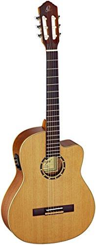 Ortega RCE131SN Konzertgitarre in 4/4 Größe Cutaway elektrifiziert natur massive Decke im seidenmatten Finish mit hochwertigem Gigbag und Gurt