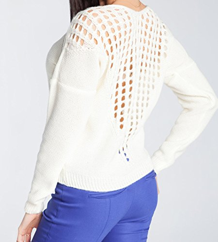 Glamour Empire. Pull en Maille Pull-over Chandail Col Bateau Crochet au Dos. 488 écru