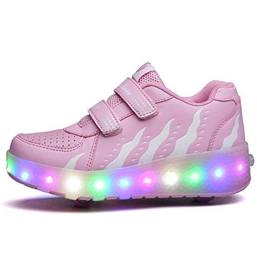 Scarpe roller per bambini unisex LED Light up Doppie ruote Scarpe da skateboard da skateboard Scarpe da skate roller da allenamento per sport all'aria aperta per ragazze (28 EU, Rosa)