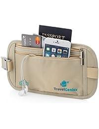 TravelGenixx Ceinture porte-monnaie cachée de voyage, pochette de tour de taille (Beige)