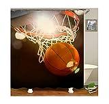 Bishilin 3D Anti Schimmel Duschvorhang 90X180 Basketball Duschvorhang Waschbar aus Polyester-Stoff