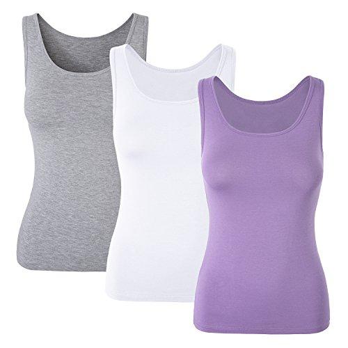 MONYRAY 3 Pack Still-BH Hemdchen ohne Bügel mit nahtlosen Cups für Frauen Tank Tops(grau+weiß+lila, M) - Damen-mikrofaser-bügel-hemdchen